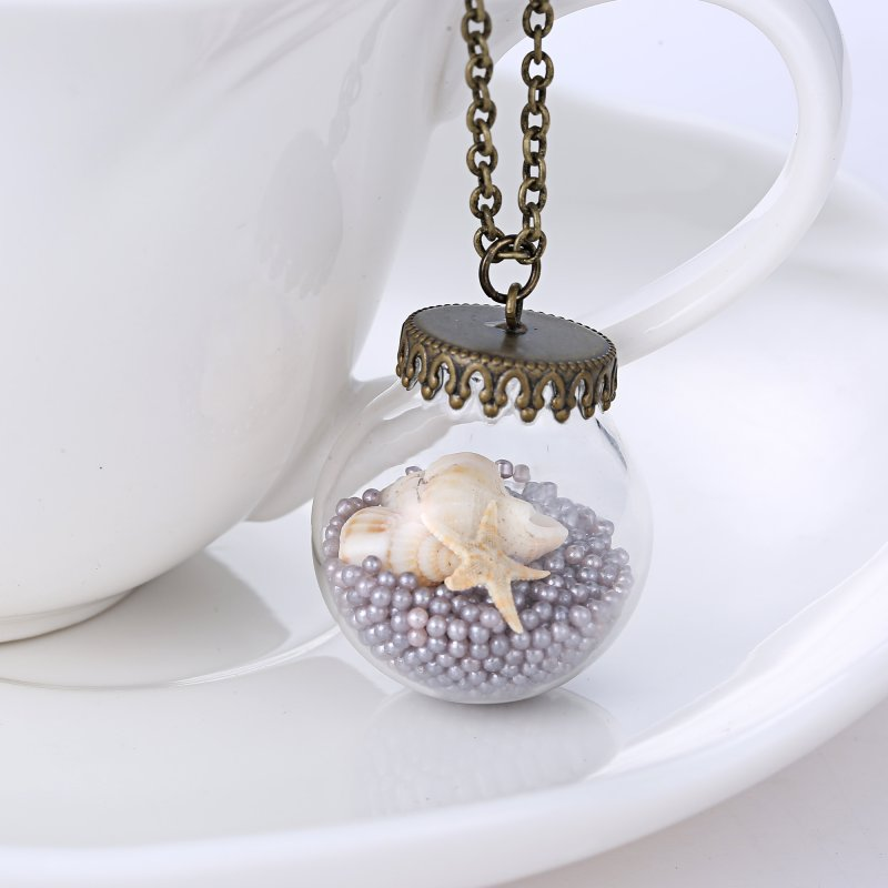 Hot Fashion Glass Starfish Sea Pearl Beads Glass Wishing Bottle Pendant Necklace