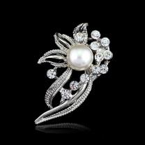 3ca8f27d354 Hot Wedding Bridal Silver Rhinestone Crystal Pearl Brooches Bouquet Brooch  Pins ...