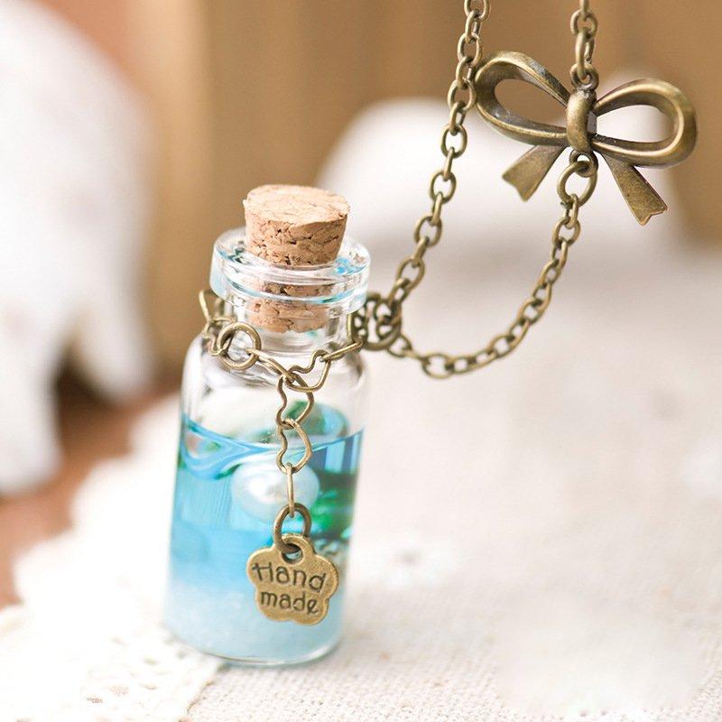 handmade pearl starfish seashell bow resin glass bottle