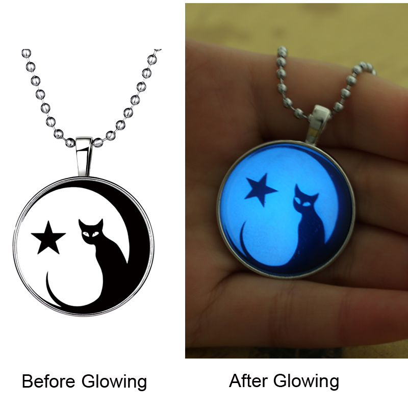 Steampunk Fire MOM Cats Glow in the Dark Pendant Necklace Stainless Steel Chain