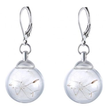 Popular Woman Jewelry Glass Cover Dandelion Antique Silver Color Earring Gift Party