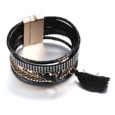 New Fashion Charming Woman Leather Rhinestone Magnetic Tassel Width Bangle Bracelet