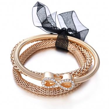 3 Pcs Fashion Multil<x>ayer Sea Star Love Heart Rhinestone Crystal Bangle Bracelet Jewelry Gifts