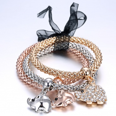3pcs Heart Rhinestone Crystal Sea Star Cube Elastic Bracelet Bangle Gold Silver Jewelry