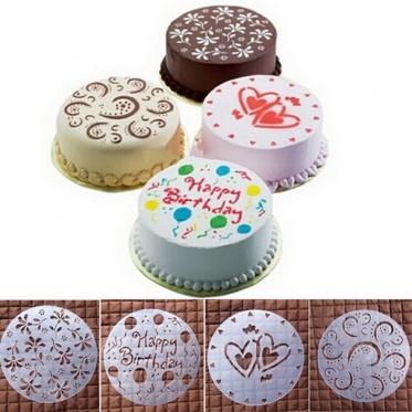 4pcs Home 3D Round Cake Fondant Flour Sugar Cutter Decorate Flower Heart Mould