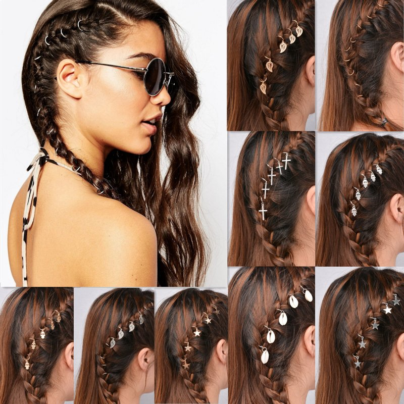 Boho 5 Plain Small Hair Rings Bundle Gold Silver Charms Set Women 39 S Accessories Ebay