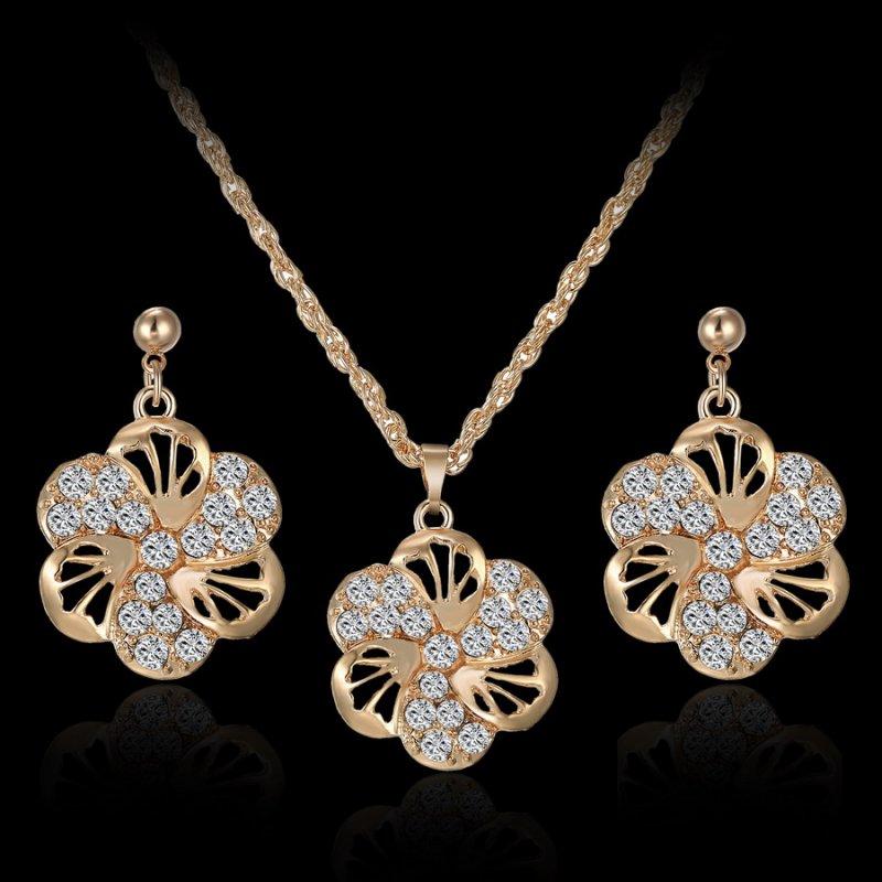 Elegant Bridal Set Heavy Gold Plated Diamante Crystal: Charm Women 18K Gold Tone Flower Crystal Necklace Earrings