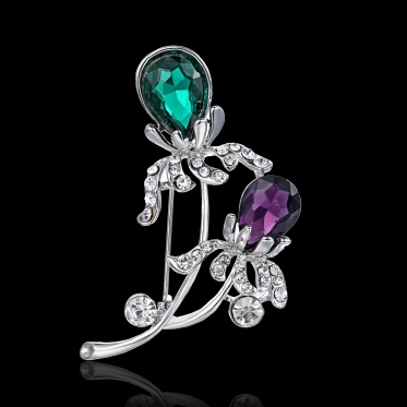 Nobby Woman Lady Elegant Flower Glass Rhinestone White Gold Plated Brooch Pin Jewelry