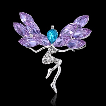 Hot Fashion Woman Jewelry Glass Rhinestone White Gold Plated Flower Girl Brooch Party