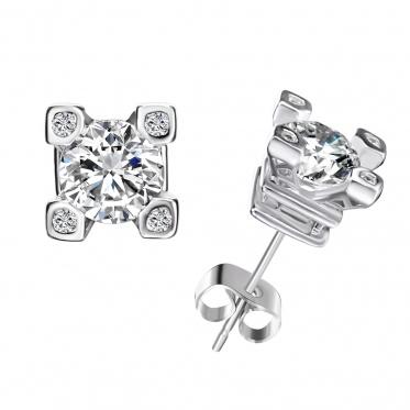 Hot Popular Woman Man Jewelry Rhinestone Zircon White Gold Plated Earrings Ear Stud