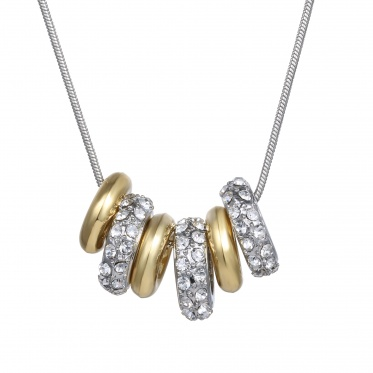 New Fashion Jewelry Woman Man Simple Rhinestone Gold Silver Circle Pendant Necklace