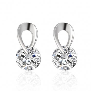 1 Pair Hot Simple Woman Lady Elegant Jewelry Zircon White Gold Plated Earrings Ear Stud
