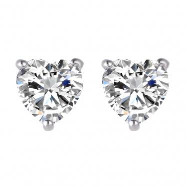 Hot Fashion Woman Lady Jewelry Love Heart Zircon Gold Silver Ear Stud Earrings
