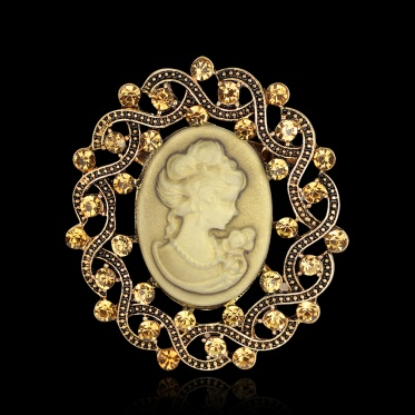 Hot Woman Jewelry Retro Beauty Pattern Oval Rhinestone Ancient Gold Color Brooch Pin