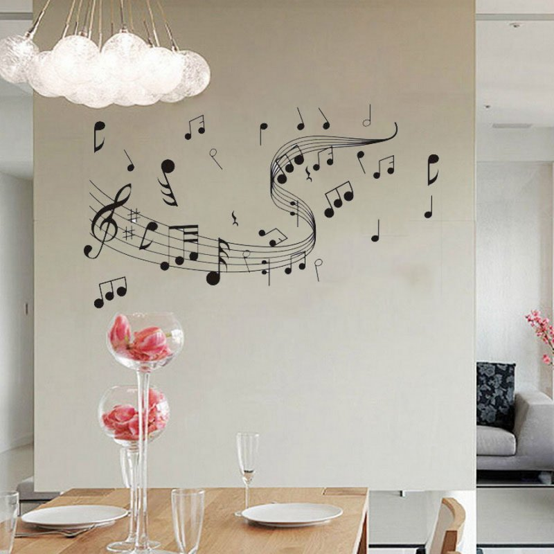 Musical notes wall stickers kids music wallpaper band room diy decal home decor ebay - Music note wallpaper for walls ...