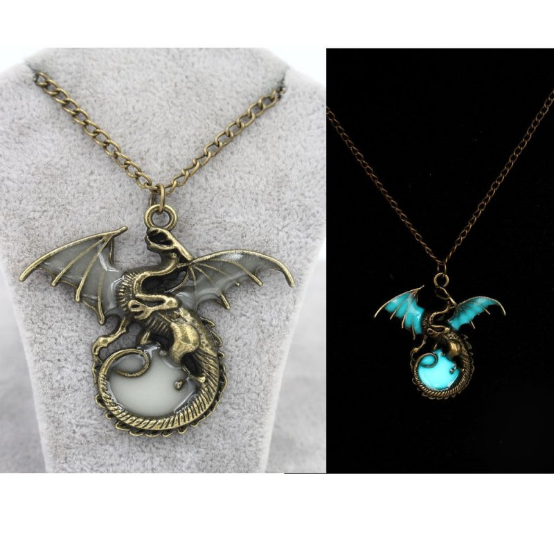Men 39 s glow in the dark retro dragon pendant necklace for Dragon gifts for men