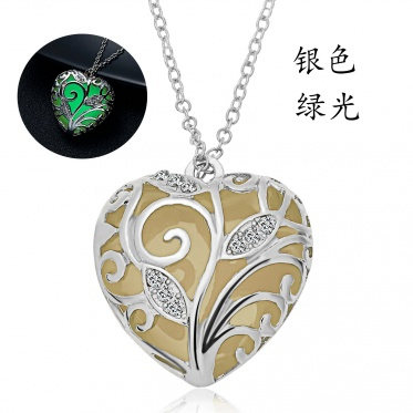 New Fashion Woman Man Jewelry Hollow Heart Glow In The Dark Pendant Necklace
