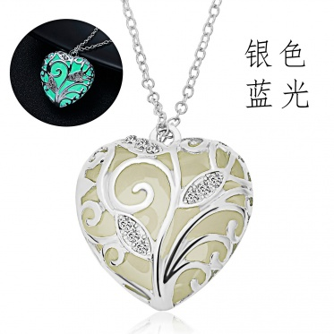 Fashion Charm Jewelry Chain Pendant Rhinestone Leaf Shaped Glow In The Dark Necklace
