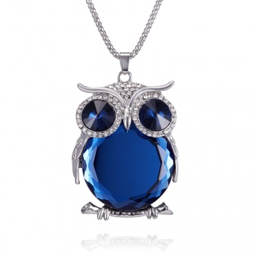 Decorative crystal sweater chain female Korean cute owl wholesale silver-plated necklace