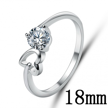Hot Fashion Popular Woman Lady Jewelry Zircon Silver Love Heart Eye Round Ring