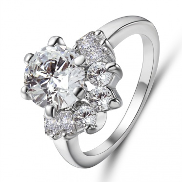 Europe And America Fashion Romantic Wedding Woman Jewelry Silver Zircon Ring