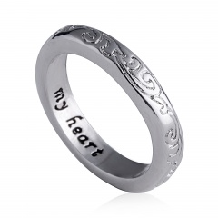Fashion Women Lettering Rings Friend Family Jewelry Gift Silver my heart