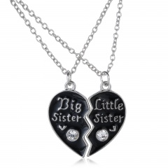 2PCS Broken Heart Sisters Black Crystal Pendant Necklace Chain Jewellery Sisters