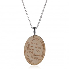 Fashion Wooden Pendant Chain Necklace Wooden