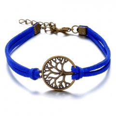Family Tree Luvky Leather Bracelet Jewelry Navy Blue