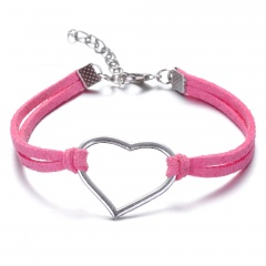 Leather Chain Silver Handmade Adjustable Bracelet Wholesale for Women Pink