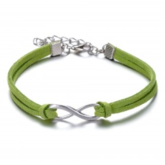 Rinhoo 8 Shape Leather Bracelet Fashion Charm Infinite Multicolor Bracelet Men and Women Gift Bracelet New green