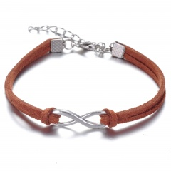 Rinhoo 8 Shape Leather Bracelet Fashion Charm Infinite Multicolor Bracelet Men and Women Gift Bracelet New brown