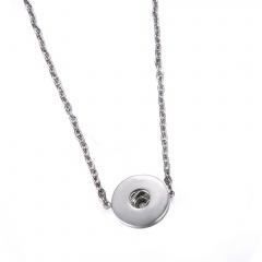 Fashion DIY Butten Locket Chain Necklace Simple Silver Necklace Jewelry Chain Necklace