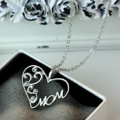 Crystal Mom LOVE Heart Pendant Necklace Grandmother Mother's Day Gifts Mom
