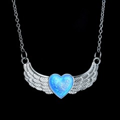 Vintage Hollow Silver Heart Moon Owl Glow In The Dark Luminous Pendant Necklace Wing