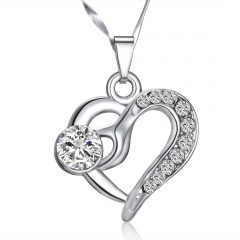 Fashion Love Heart Crystal Pendant Necklace Crystal Heart