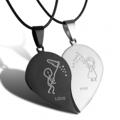 2Pcs Couples Stainless Steel Heart Pendant Necklace Boy&Girl