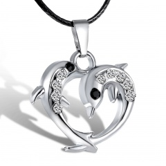 Fashion Stainless Steel Animals Horse Elephant Pendant Necklace Dolphin