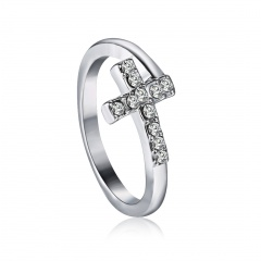 Silver Color Belief Cross Finger Rings With White Zirconia Stone For Women Party Gift Jewelry Anniversary Rhinestone Rings Cross