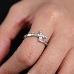 Women Cool Jewelry Crystal Cross Silver Ring Bride Wedding Gift Size 7 7