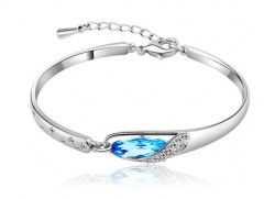 Wholesale Elegant Silver Plated Women's Crystal Bangle Fashion Bracelet with Chain Blue