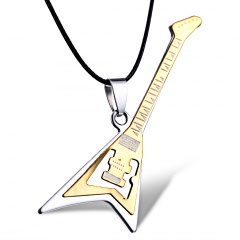 Fashion Stainless Steel Guitar Cross Pendant Mens Punk Necklace Jewelry Guitar