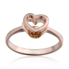 Rose Gold Heart with Diamond Women's Wedding Ring 17