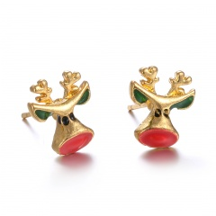 Fashion Christmas Style Colorful Stud Earring Simple Gold Earring Jewelry Wholesale Elk