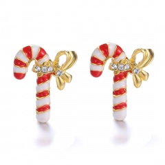 Fashion Christmas Style Colorful Stud Earring Simple Gold Earring Jewelry Wholesale Cane