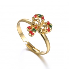 Fashion Women Cute Crystal Pearl Finger Adjustable Ring Jewelry Party Christmas Crutch