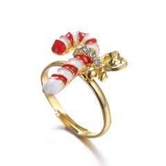 Fashion Women Cute Crystal Pearl Finger Adjustable Ring Jewelry Party Christmas Crutch 2