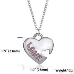 Elegant Heart Shape Silver Heart Pendant Necklace Womens Mens Jewellery Party Love