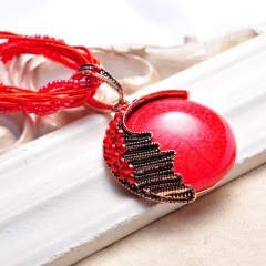 Vintage Round Ball Pendant Necklace Long Sweater Chain Red