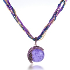 Vintage Round Ball Pendant Necklace Long Sweater Chain Purple